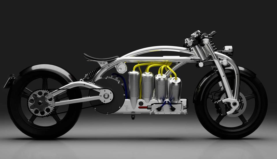 The Zeus design pays tribute to the Curtiss V8 bike.