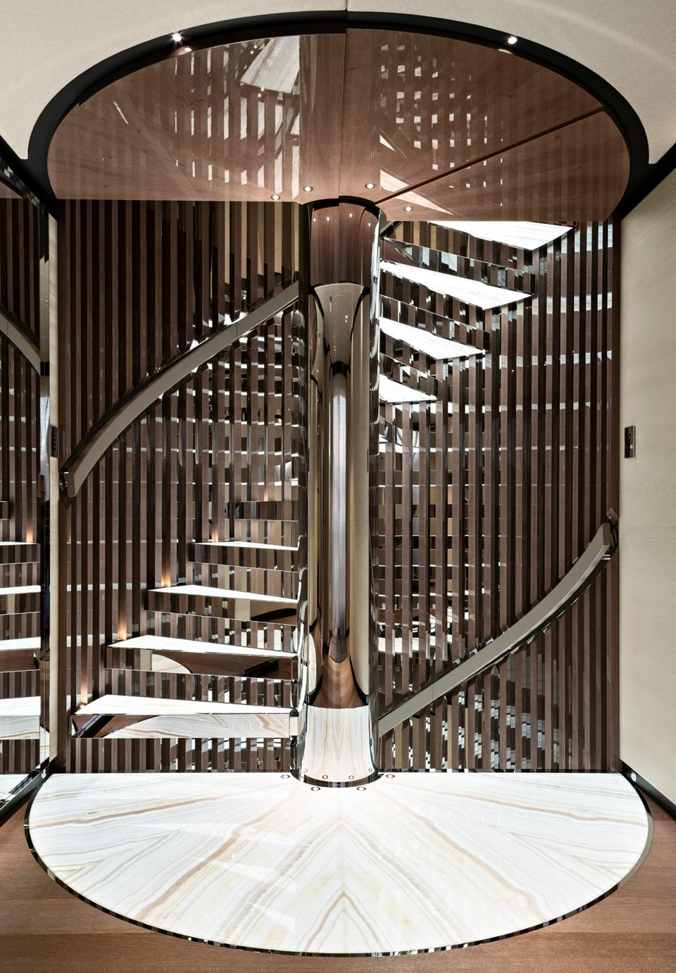 Exclusive photo of Vida superyacht's statement staircase.