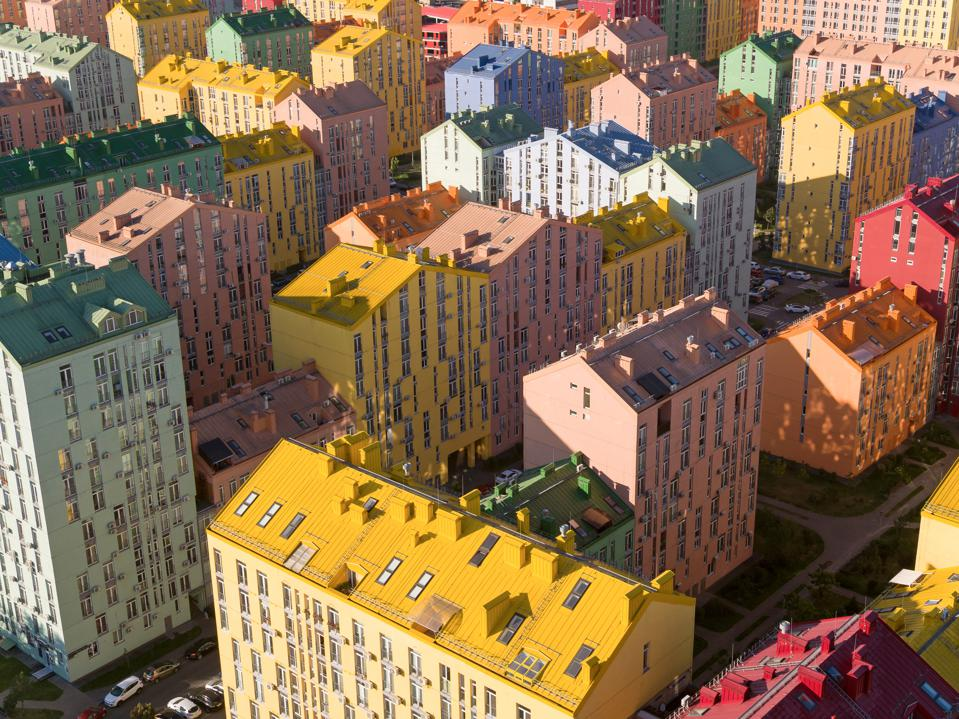 The colorful houses of archimatica's Comfort Town in Kiev