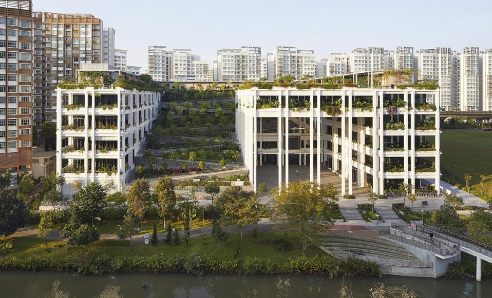 Garden terraces and landscape riverfront of Singapore's Oasis Terraces.