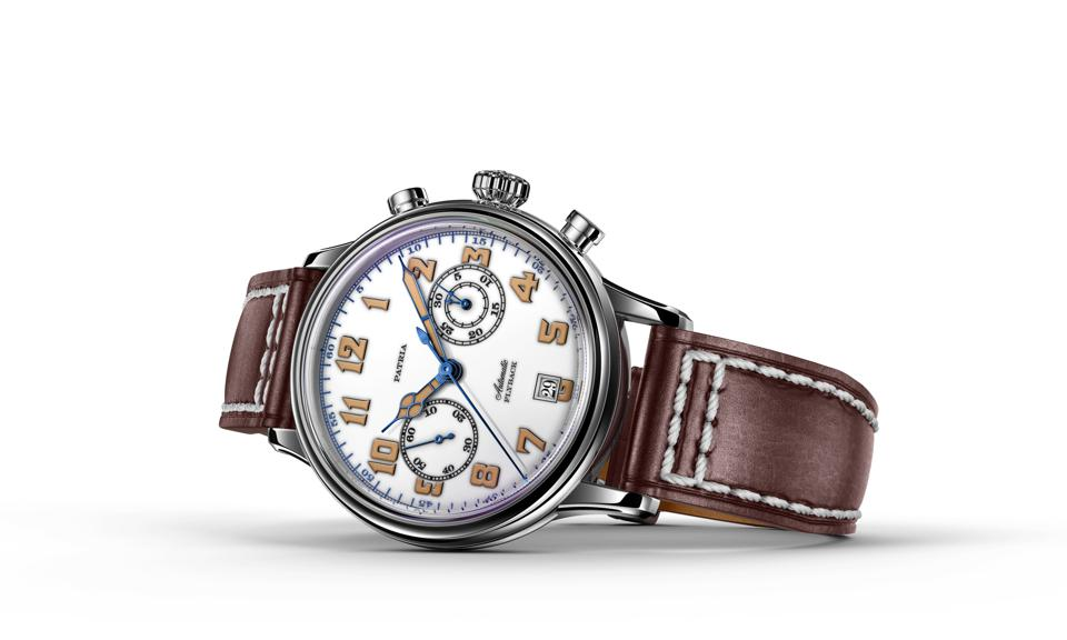 The Patria Brigadier chronograph with white lacquered dial