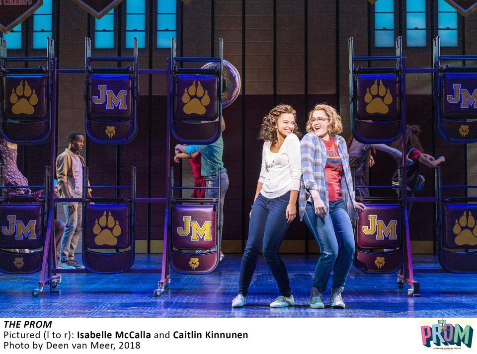 Caitlin Kinnunen (right), and her co-star, Isabelle McCalla (left), perform in Broadway's The Prom