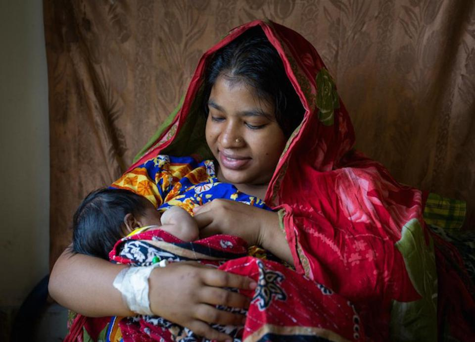 Ruma Akhtar breastfeeds her newborn baby at the Patuakhali District Hospital maternity ward, in Bangladesh on April 12, 2018. UNICEF works to support national governments in making the world a friendlier place for all mothers who wish to breastfeed.