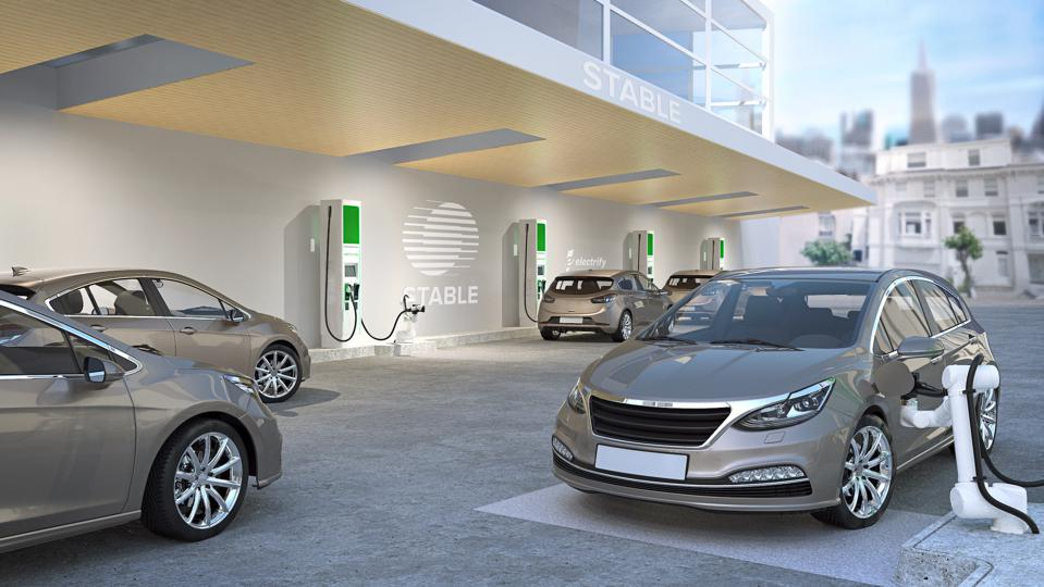 A rendering of an EV charging station by Stable Auto.