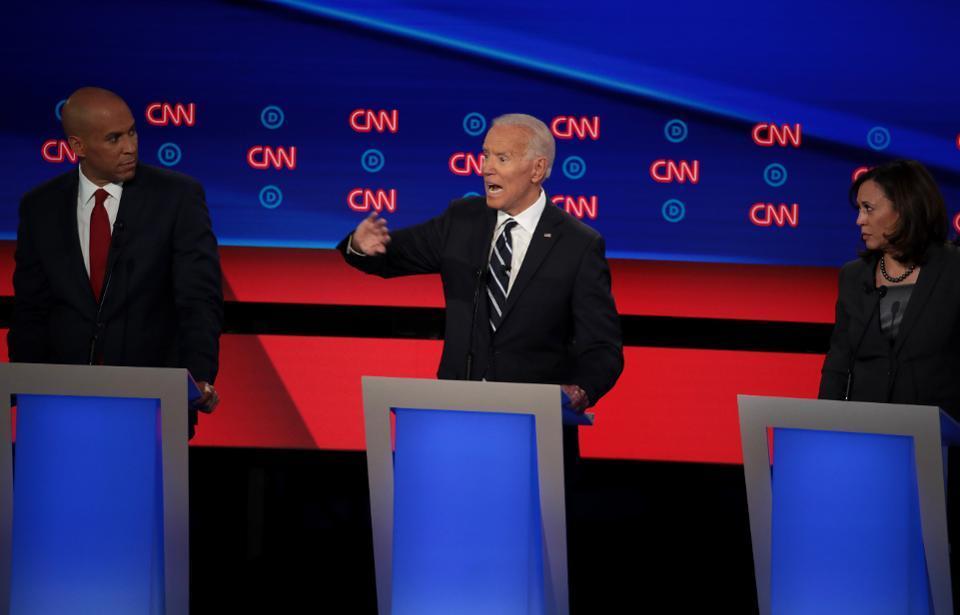 Joe Biden, Kamala Harris and Cory Booker at the Democratic Presidential Debate in Detroit