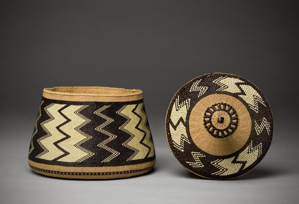Elizabeth Hickox (Wiyot), Container, 1924, Plant fibers and dyed porcupine quills. Denver Art Museum Collection: Purchase from Grace Nicholson, 1946.388.
