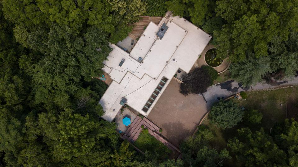 Aerial view of Wright home
