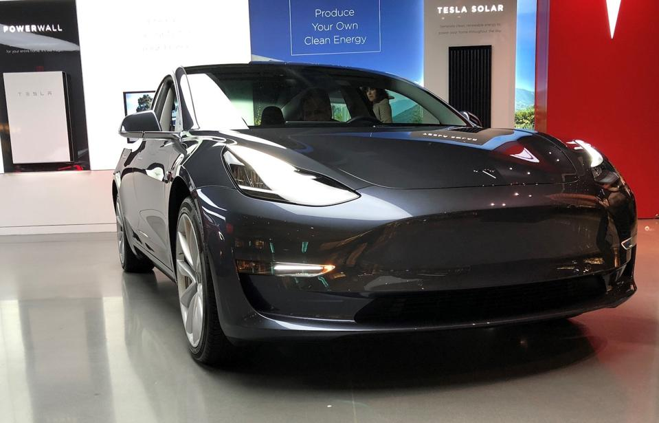 Tesla Model 3 at Century City, Los Angeles store.
