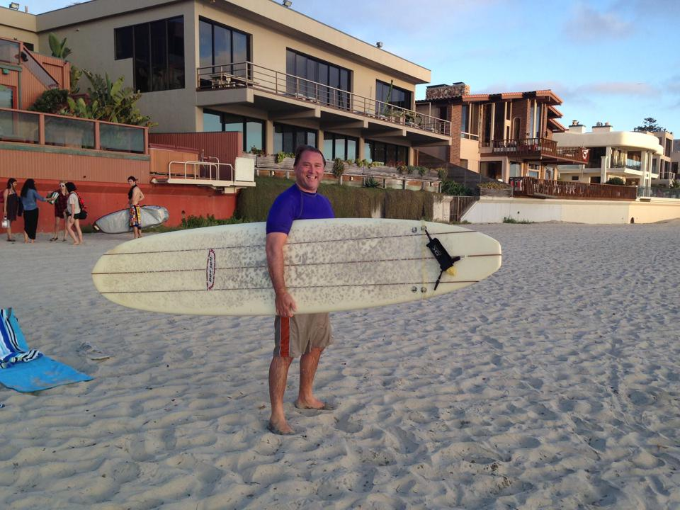 Nenad Marovac, partner at DN Capital, with his surfboard.