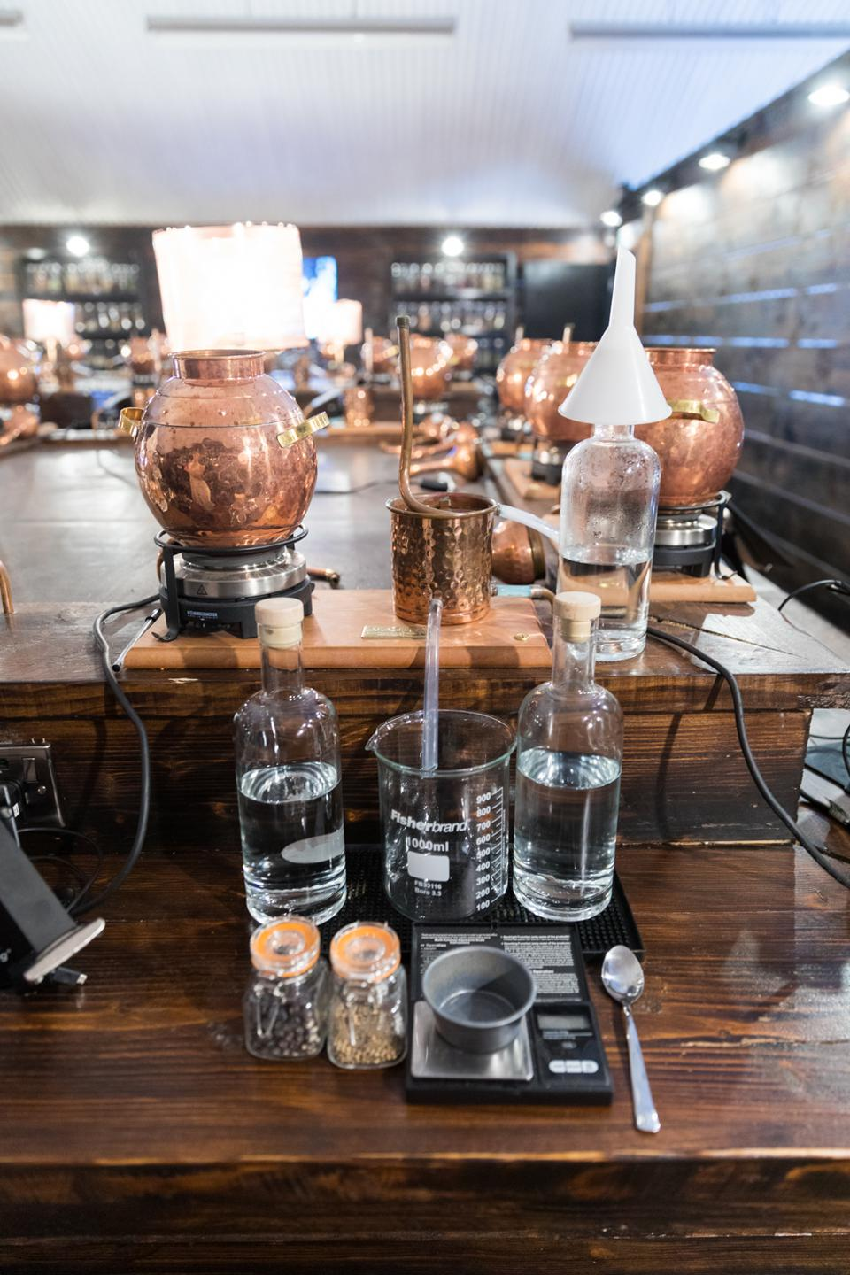 One of the stations at the Gin School
