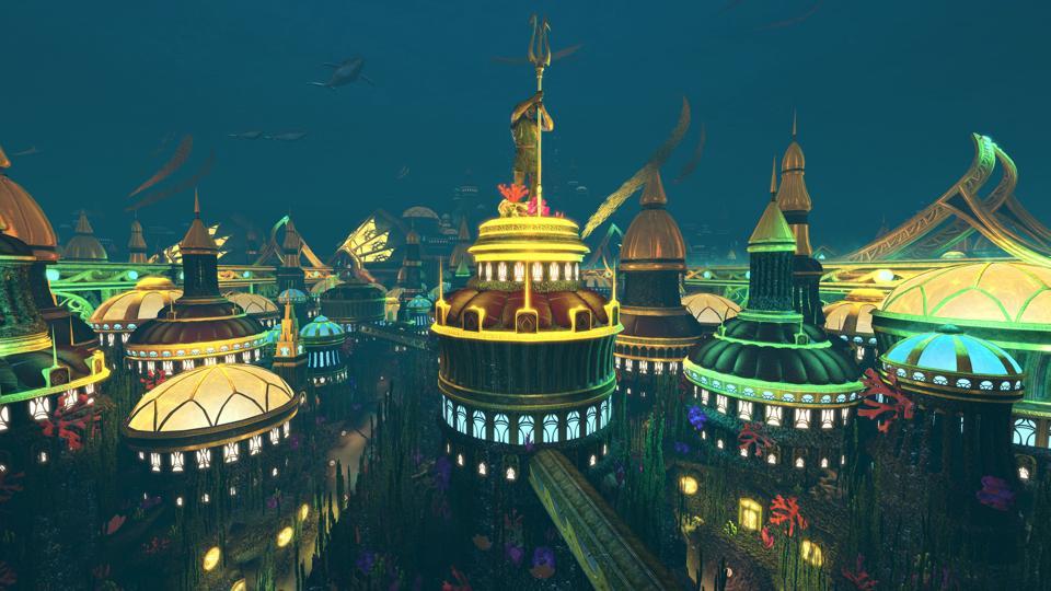 The underwater city of Atlantis in DCUO.