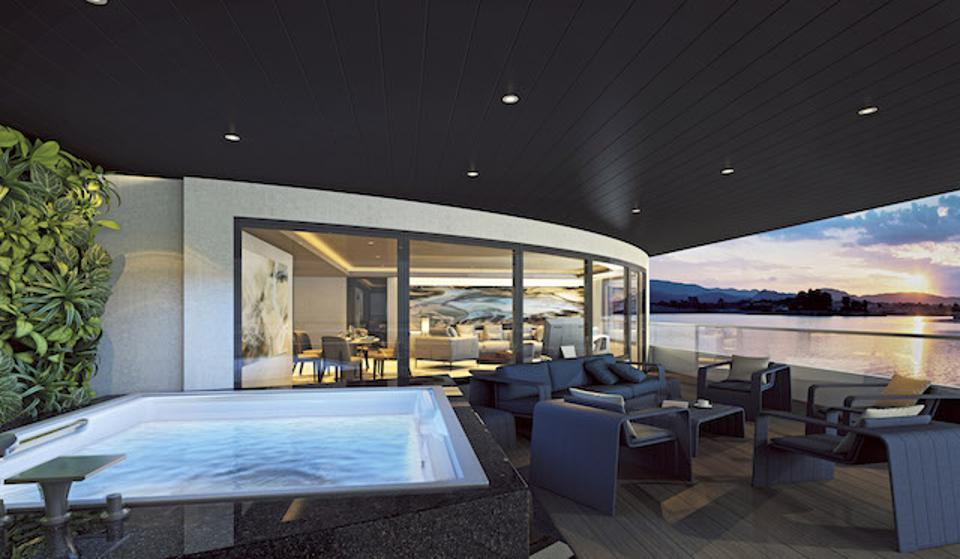 Computer rendering of Owner's Penthouse featuring a spacious curved terrace with private Jacuzzi