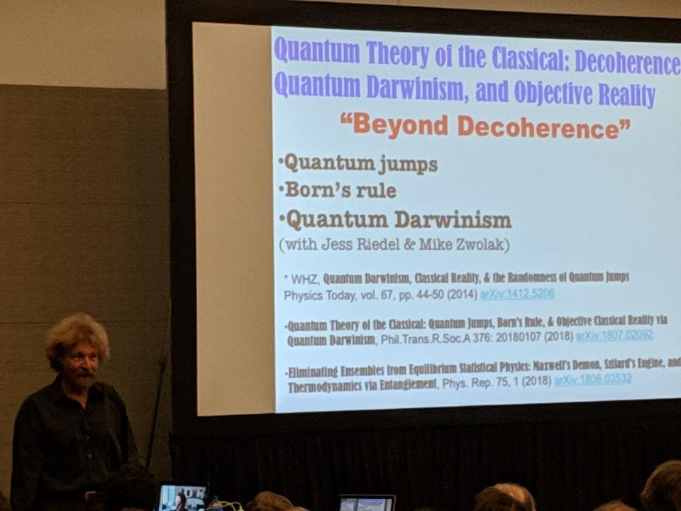 Wojciech Zurek talking about Quantum Darwinism at the 2019 March Meeting of the American Physical Society.
