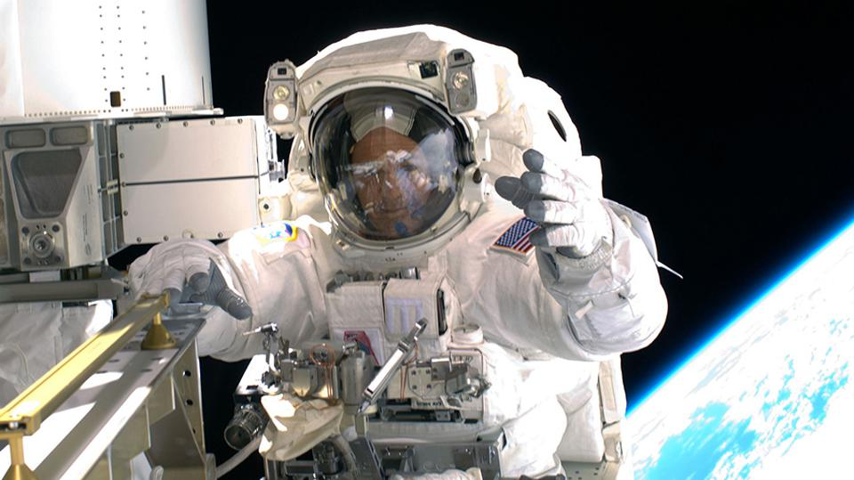 Astronaut Ricky Arnold is pictured during a spacewalk in March of 2009.