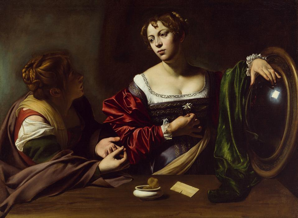 Michelangelo Merisi da Caravggio, Martha and Mary Magdalene, c. 1598, oil and tempera on canvas.