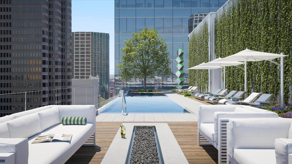 An artist's rendering of the HALL Arts Hotel pool deck.