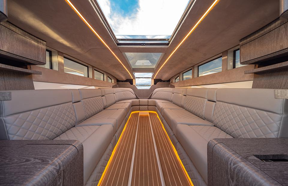 The interior of a superyacht limo is as luxurious as you think it'd be.