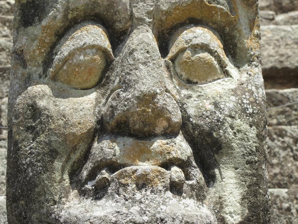 Mayan mask sculpture from Copan, Honduras