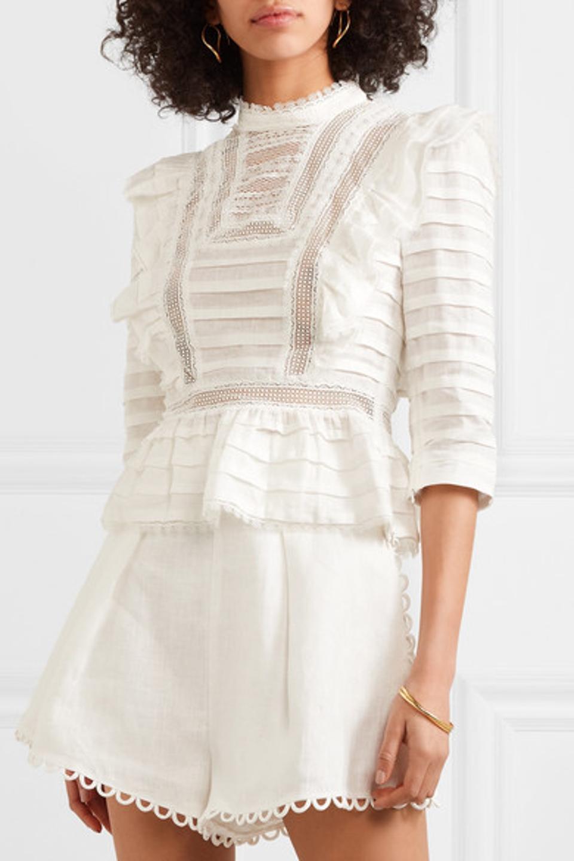 Zimmermann Allia Ruffled Lace-Trim Linen Gauze Top