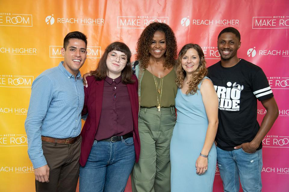 Michelle Obama with a group of college students