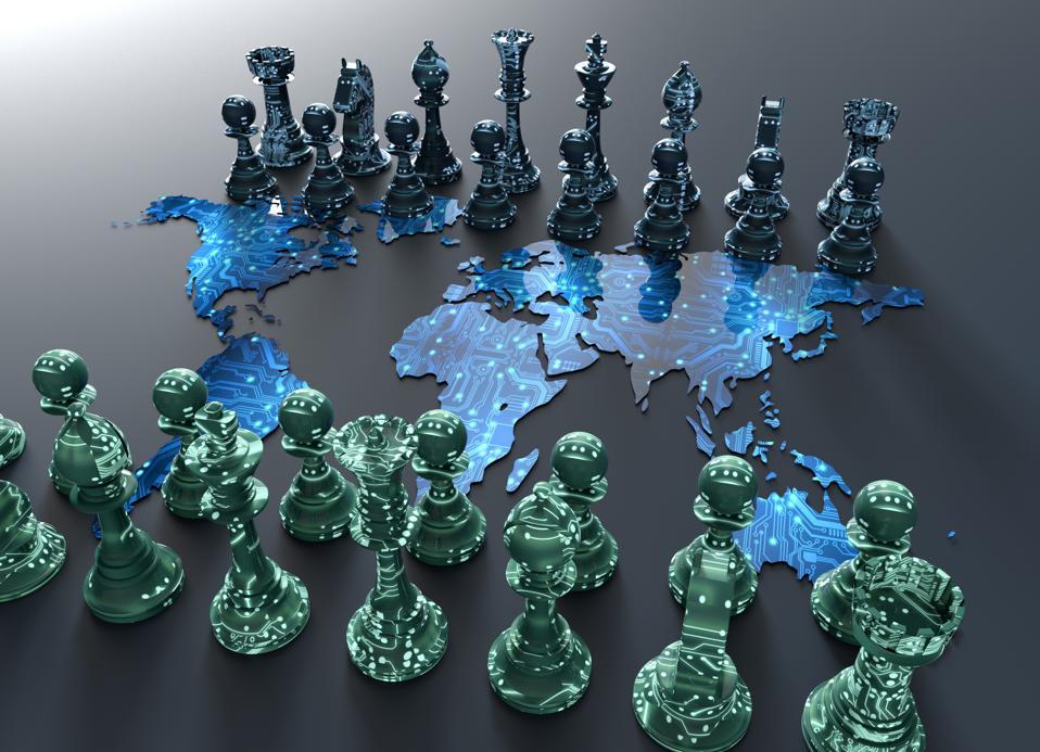 Digital world map chessboard.