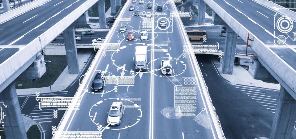 Automatic car city defocused new viaduct