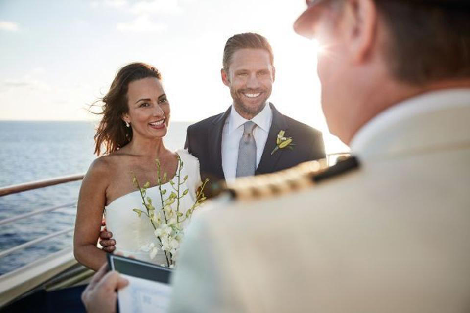 A romantic vow renewal at sea