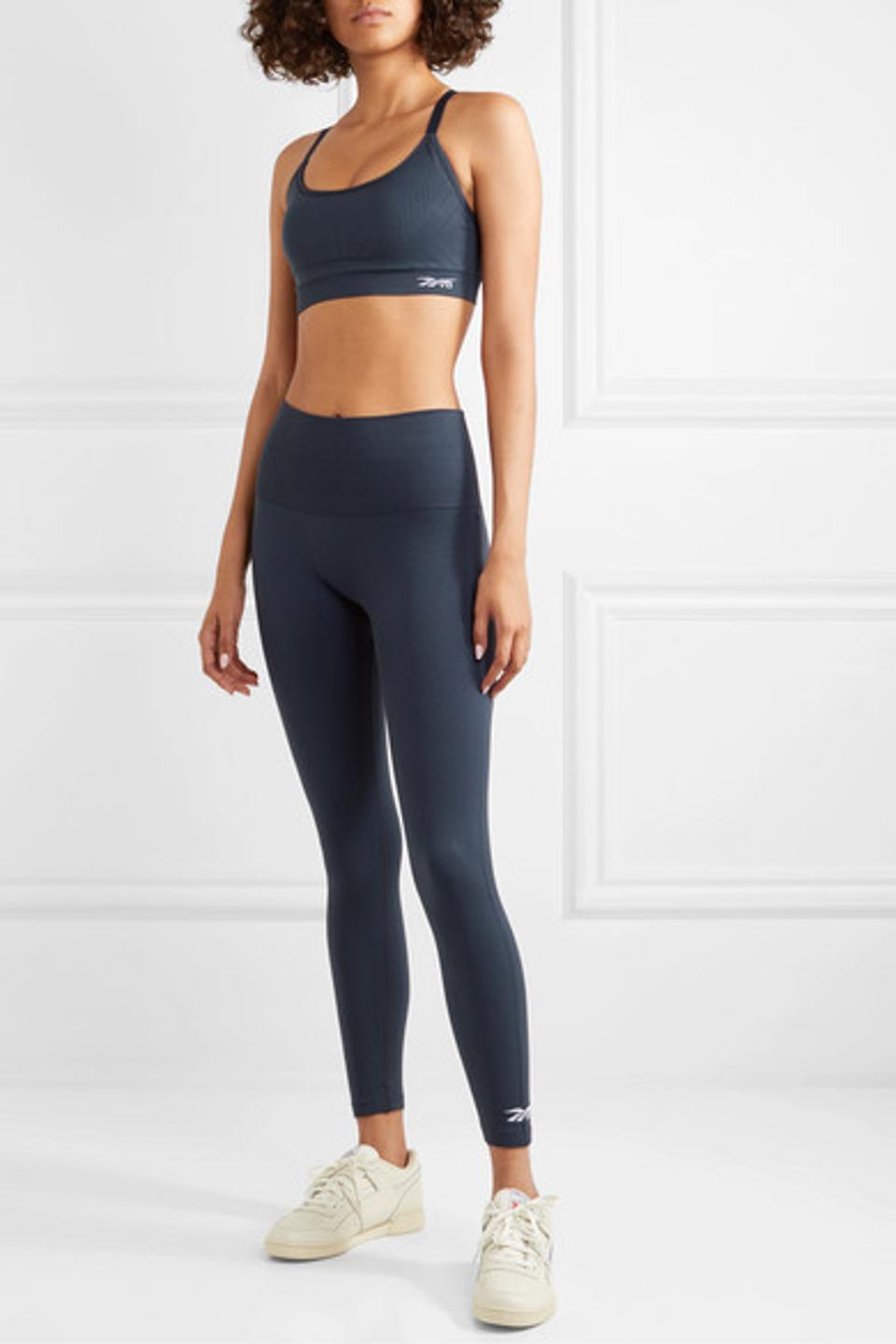 Navy Technical Stretch Knit Sports Bra and Leggings by REEBOK X VICTORIA BECKHAM