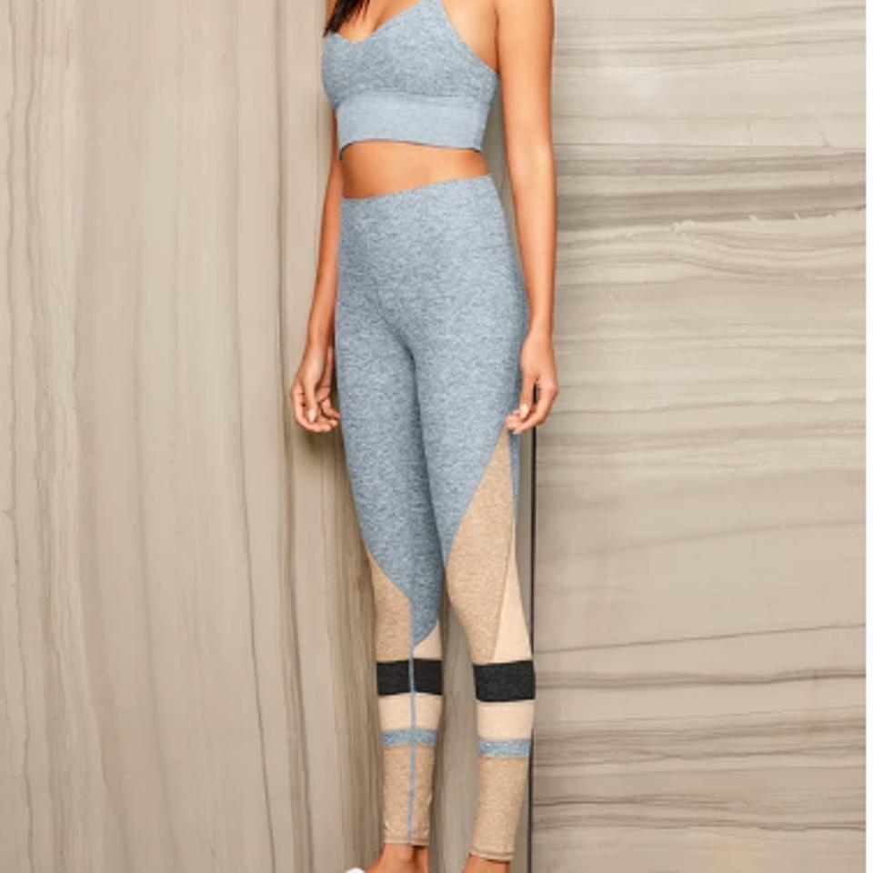 Gray and Beige High Waist Alosoft Momentum Leggings from ALO YOGA