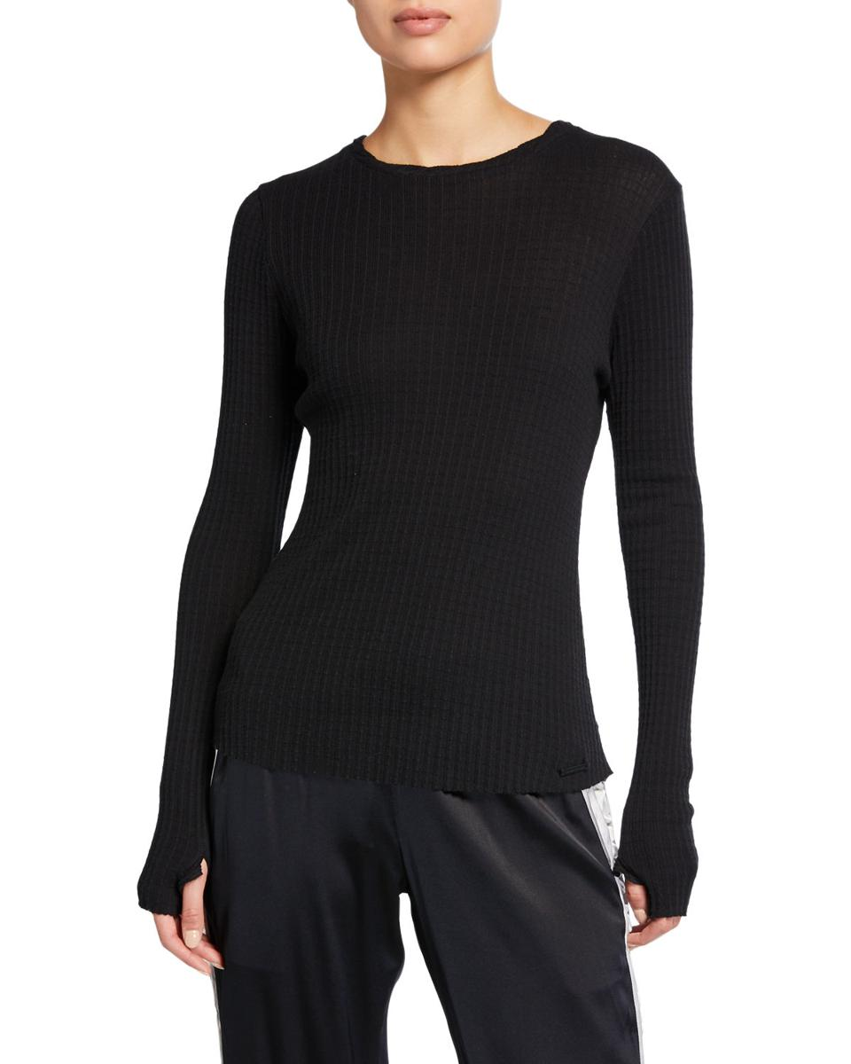 Black Sora Long Sleeve Ribbed Top from BLANC NOIR