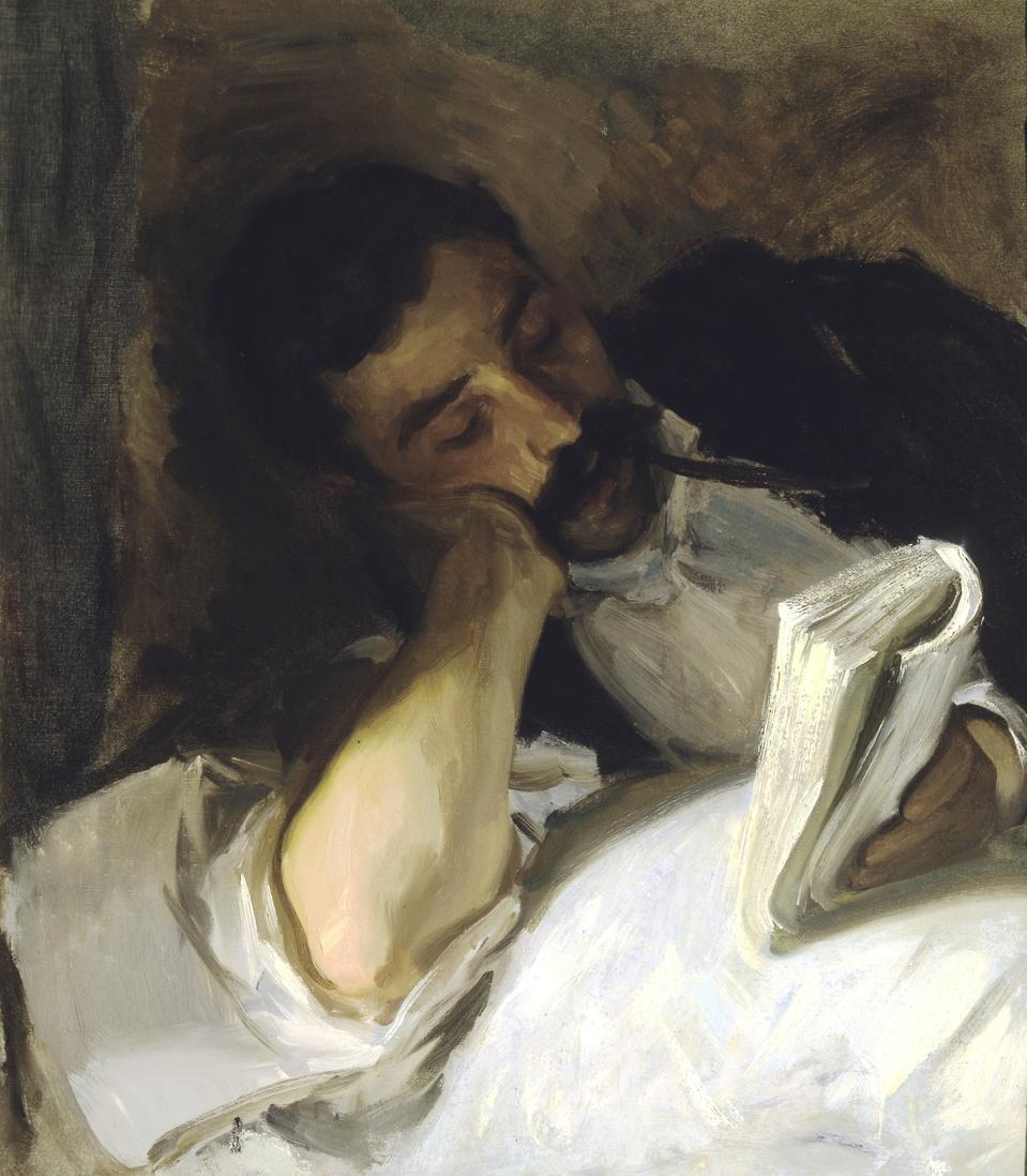 John Singer Sargent (American, 1856-1925), Man Reading (Nicola d'Inverno), c. 1905-1910, oil on canvas.