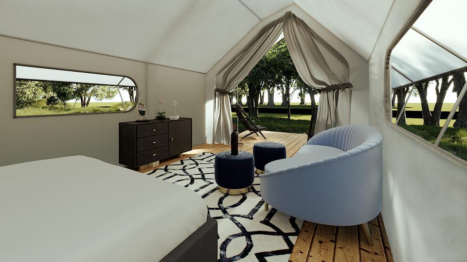 Glampique tent.  Furnished Tent Interior2