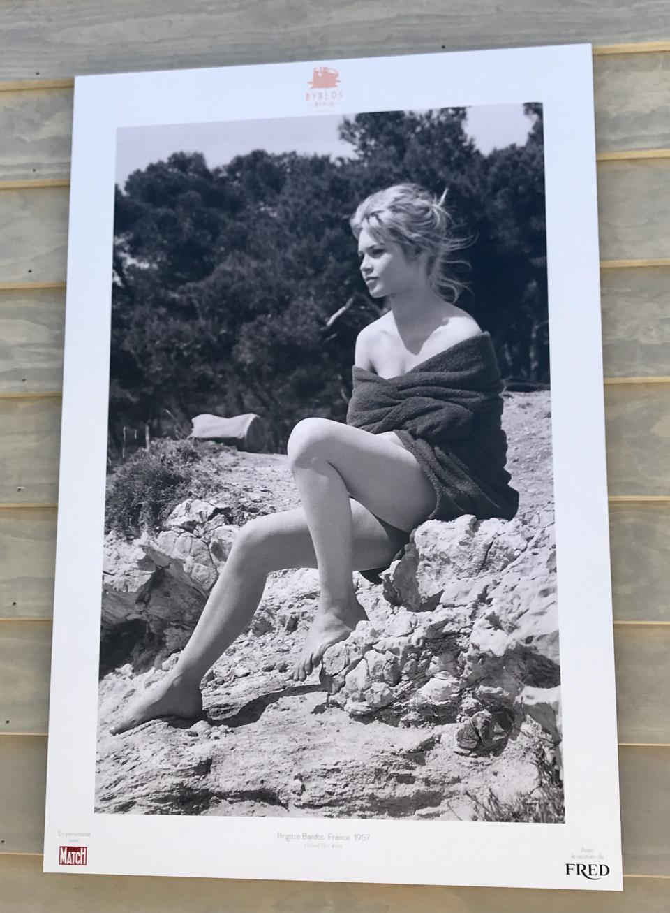 Brigitte Bardot from exhibition Stars on the Beach at Byblos Beach.