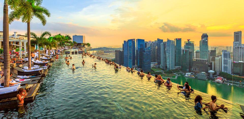 The famed Marina Bay Sands sky bar, situated at the top of Singapore's most iconic hotel