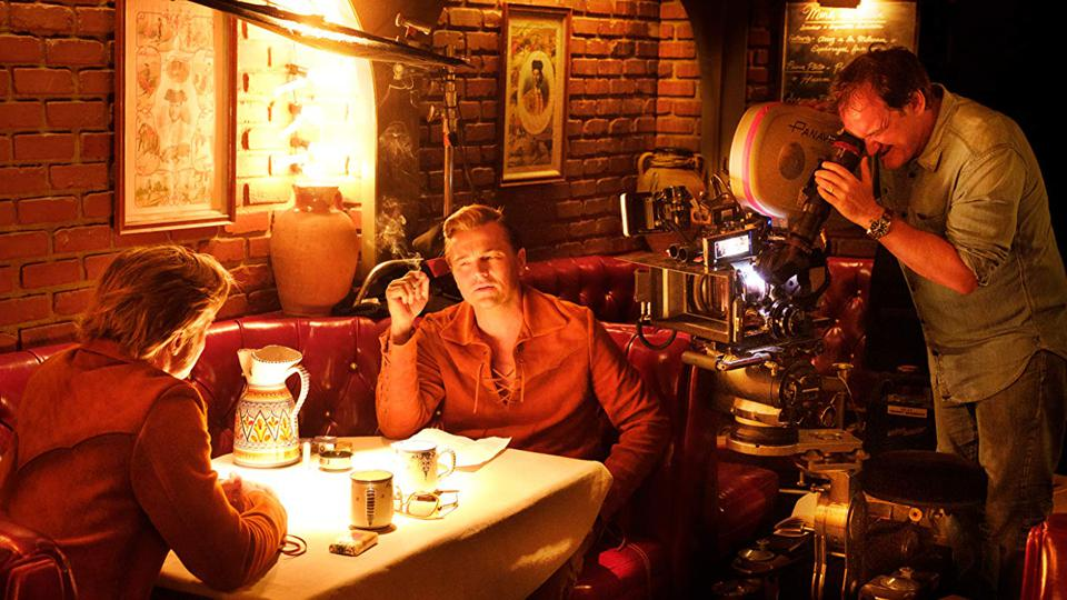 Brad Pitt, Leonardo DiCaprio, and Quentin Tarantino in Once Upon a Time ... in Hollywood (2019)