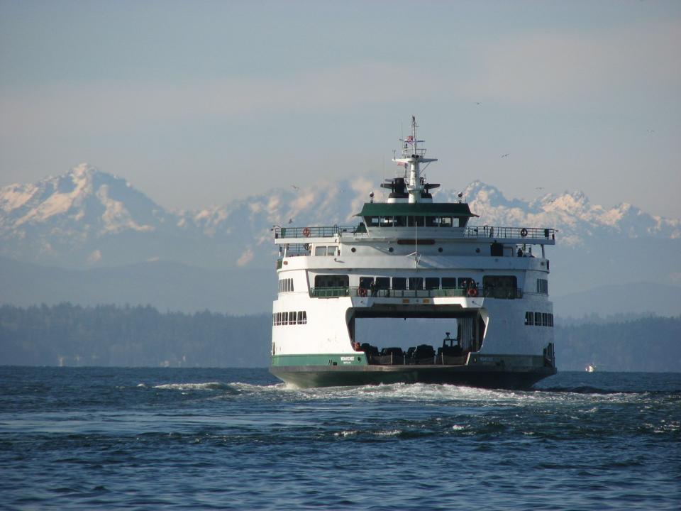 Ferry en route from Seattle to Bainbridge Island.
