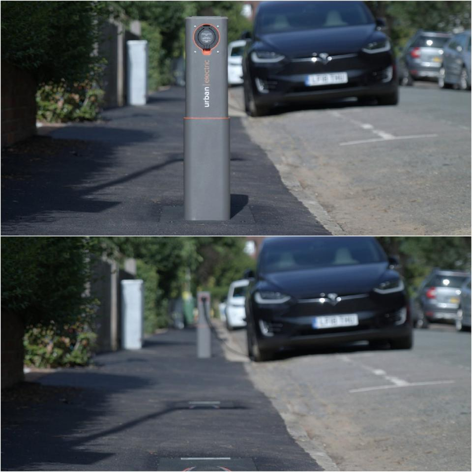 Hidden Urban Electric EV Charger Up and Down