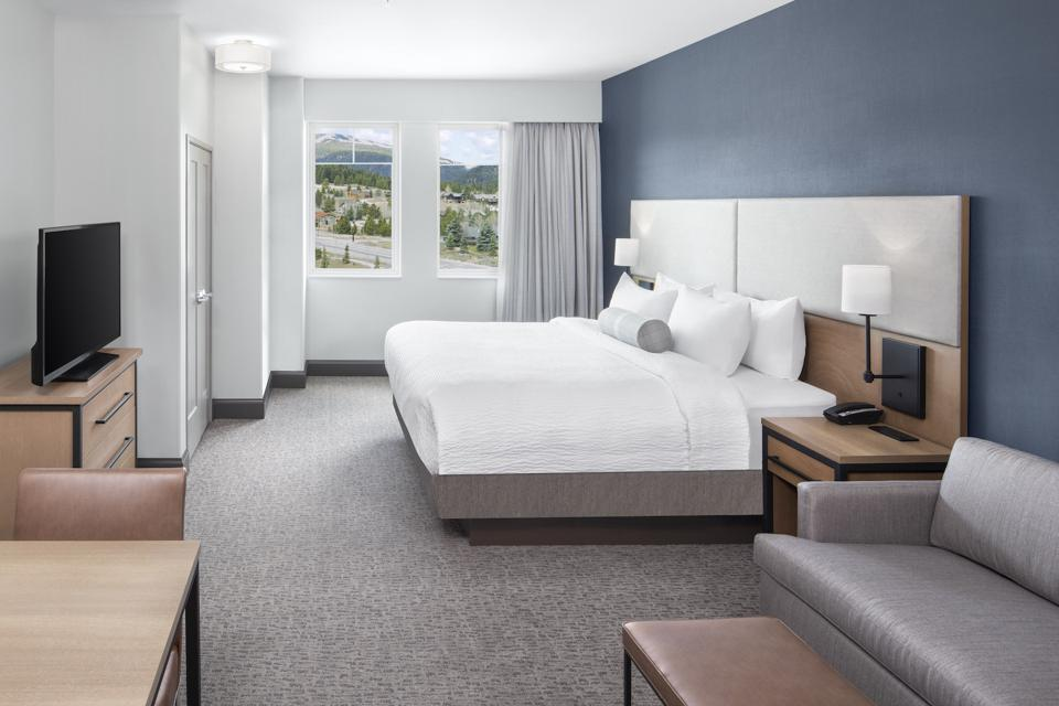 The Wilson Hotel offers extended-stay suites which include fully equipped kitchens with a microwave, mini-fridge and stovetop. Seen here is a Studio King room.