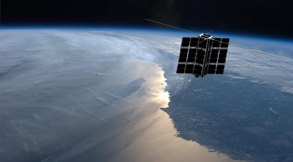 Artist's impression of a Spire satellite in orbit.