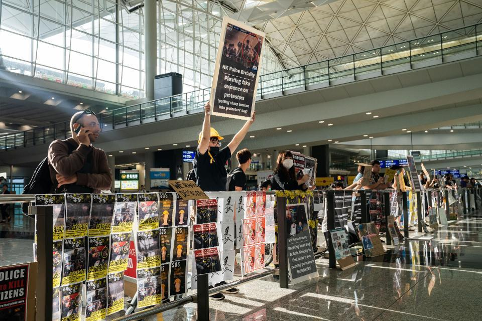 Anti-government protesters returned to Hong Kong Airport on Tuesday.