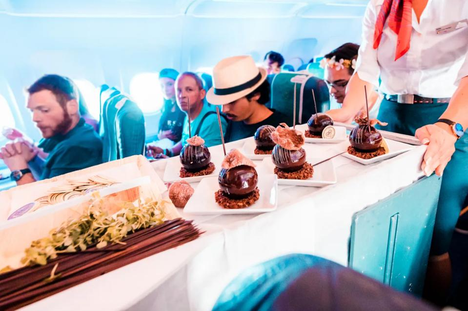 An inside look into the catering for the Brussels Airlines flight to the 2019 Tomorrowland music festival.