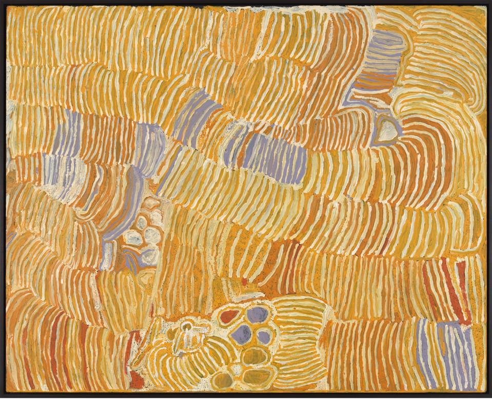 MAKINTI NAPANANGKA, Kungka Kutjarra (Two Women), 2000. Synthetic polymer paint on linen, 48 x 60 1/4 in/ 121.9 x 153 cm.