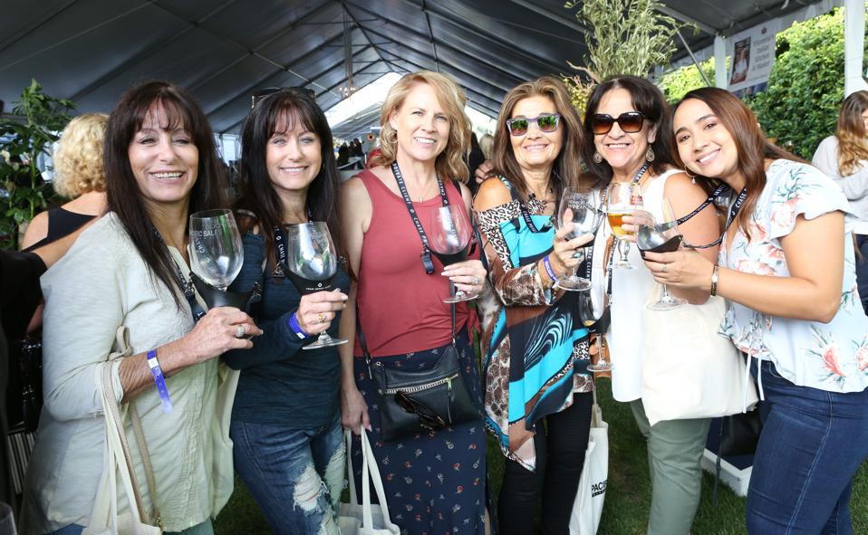 Ladies enjoying California wines in Newport Beach.