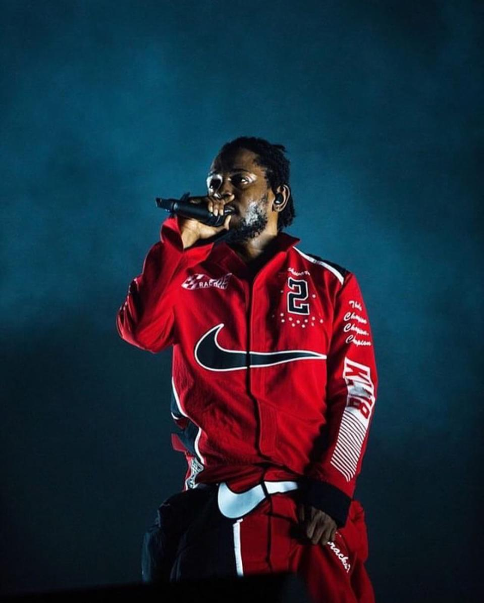 Kendrick Lamar performing in a wardrobe designed by Jide Osifeso and Nike Sportswear.