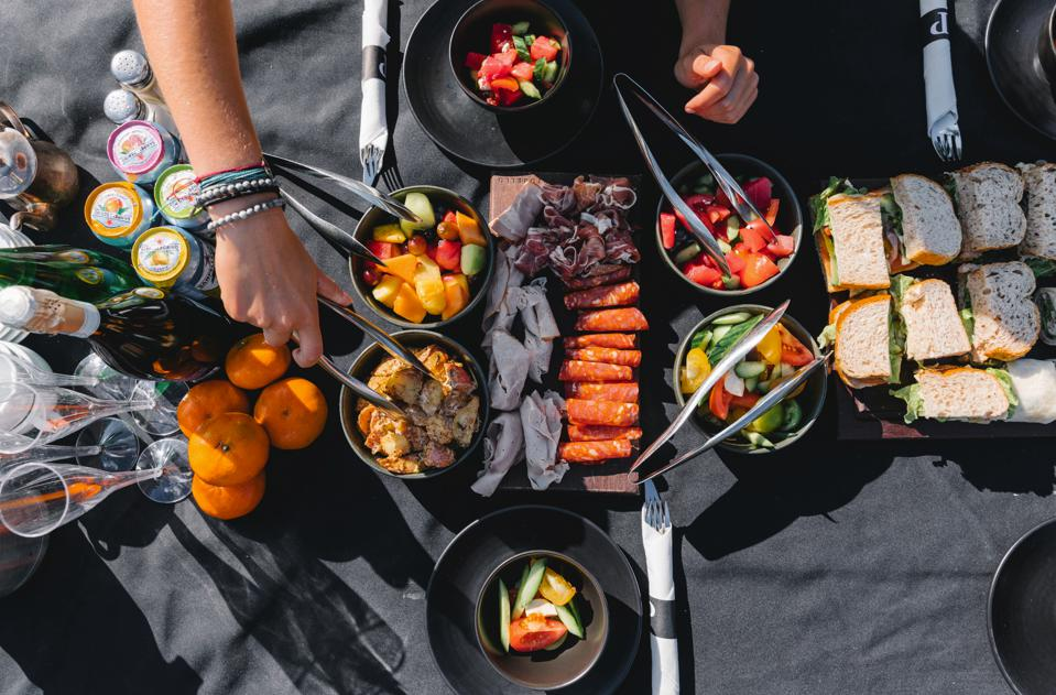 A photo of a picnic lunch on a heli-trip