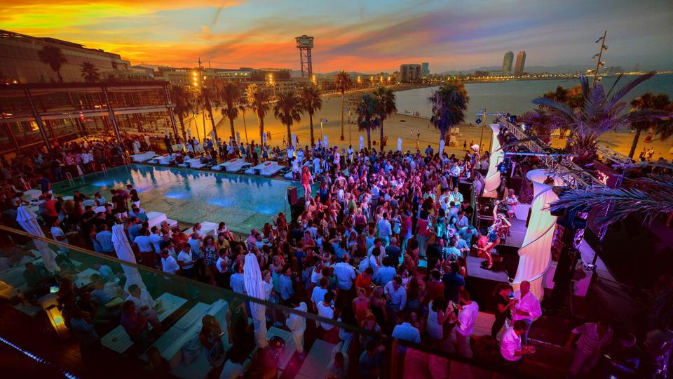An aerial view of W Barcelona's summer DJ sets on the hotel's Wet Deck hot spot.