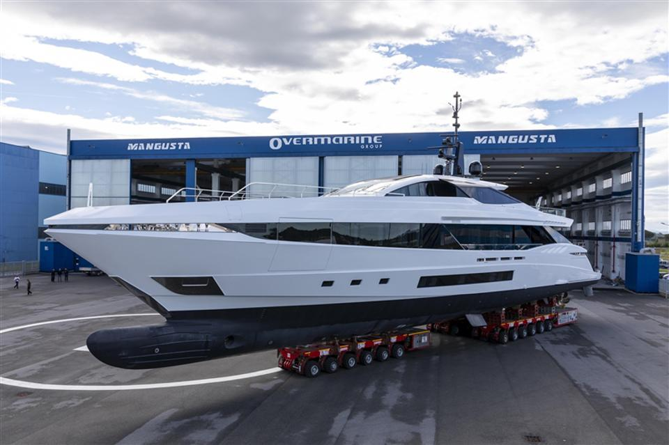 The brand new Mangusta GranSport 45 prior to her launch.