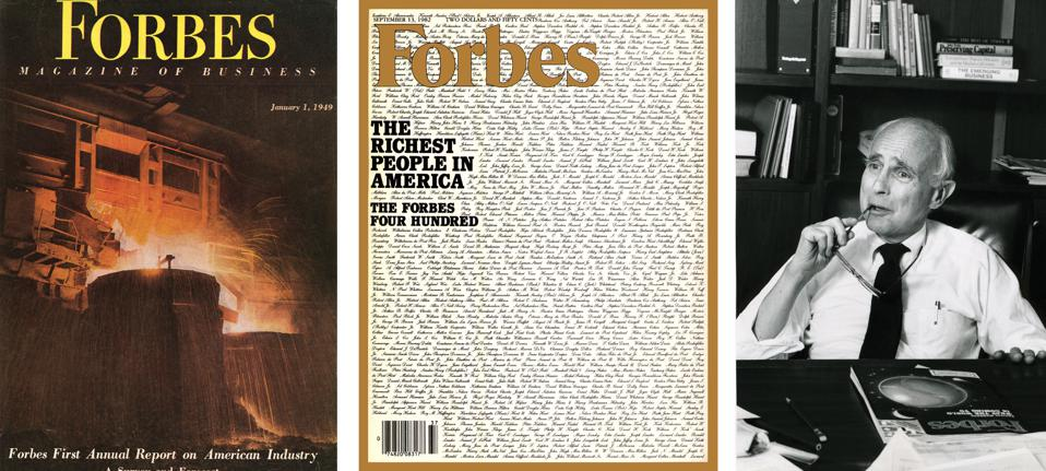 Forbes Annual Report on Industry published in January 1949, the Forbes 400 published in 1982 and Jim Michaels, Forbes' editor