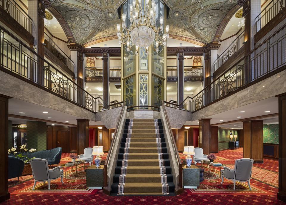 The hotel lobby of The Graduate Providence