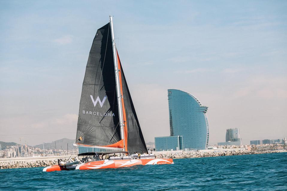 The W Barcelona catamaran sets sail on the Mediterranean Sea.